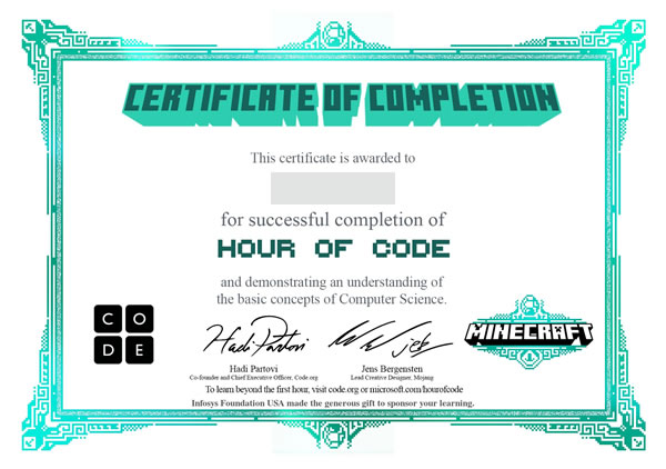 Hour of Code 修了証
